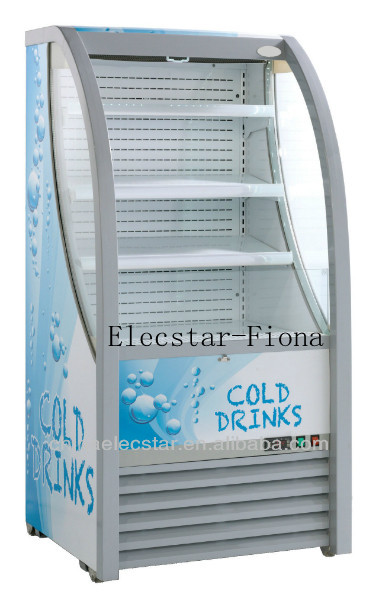 Front open showcase cooler for beverage, open air cooler, slim commercial open front cooler 01