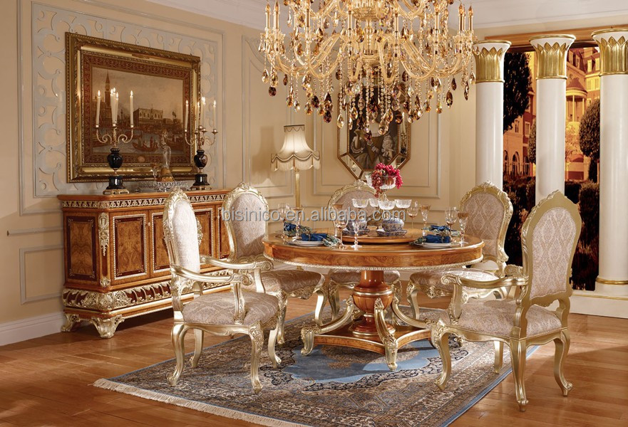 Luxury Vitoria Style Gold Leaf Dining Room Furniture, Baroque Palace Style Marquetry Round Dinning Table With Chairs