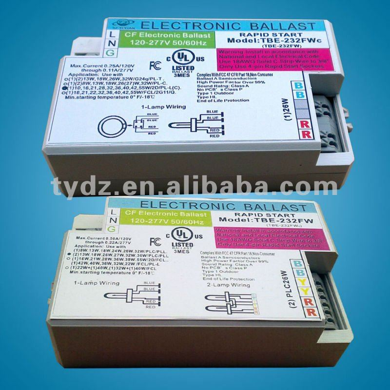 electronic ballast plc 18w , ballast 13w pl lamp, ballast for energy saving lamp, compact fluorescent electronic ballasts