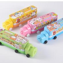 Metal Tin Double Layer Train Design Pencil Pen Case Cover Box for Kids