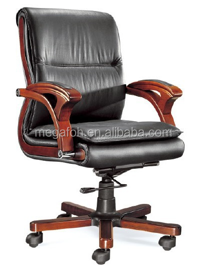 Solid wood armrest modern office leather chair for sale(FOHB-29-2)