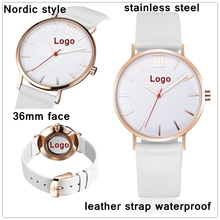 2017 fashion rose gold stainless steel watch custom label own logo luxury unisex watch red second hand quartz brand lady watches