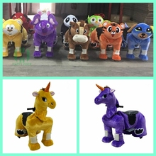 Giant battery coin operated plush ride on animal toy animal robot for sale