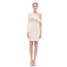 OEM Party Cocktail Dresses White Pleated One Shoulder Wrap Midi Dress