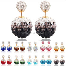 Fashoin Girls Earrings Wholesale Stud Shamballa Earring with Crystal ball