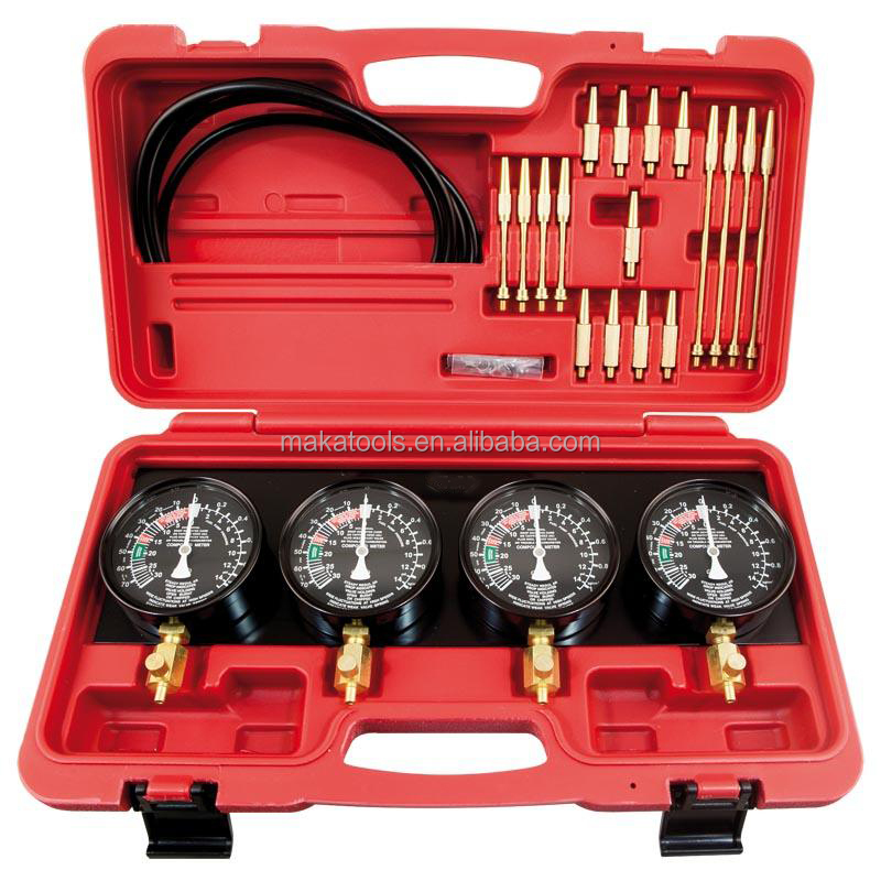 4-Cylinder Balance Gauge Fuel Vacuum Carburetor Synchronizer Gauge Set Kit Rubber Hose