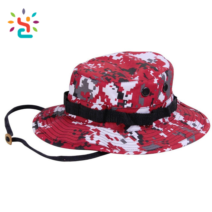 Camping Hat with Strings Army reversible print fisherman bucket cap for children hot sale red boonie hats