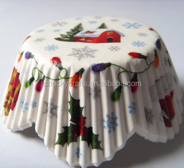 high quality Low price White Snow House paper cupcake liner muffin baking cup cake case for bakery birthday Christmas day