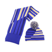 100% polyester recycled yarn knitted scarf hat set