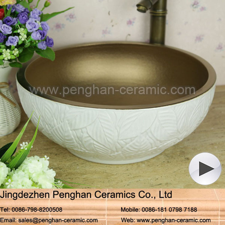 Modern high quality ceramic copper color and White Vitreous China Wash Basin