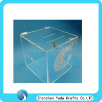 Customized Plexiglass Logo Printed Charity Box With Lock Plexiglass Charity Box Factory