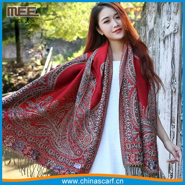 red high quality exquisite outdoor travel holidays kashmiri embroidered shawl