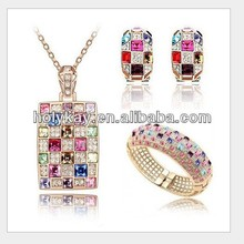 wholesale 2014 new products fashion mix color rhinestone necklace, bracelet and earring costume jewelry set from chian supplier