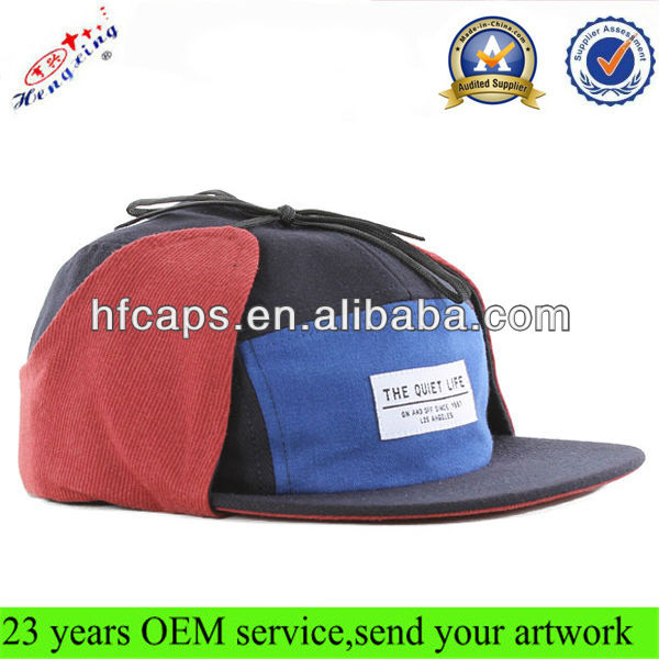 Neck shade flap hat cap custom winter flat brim 5 panel flaps cap