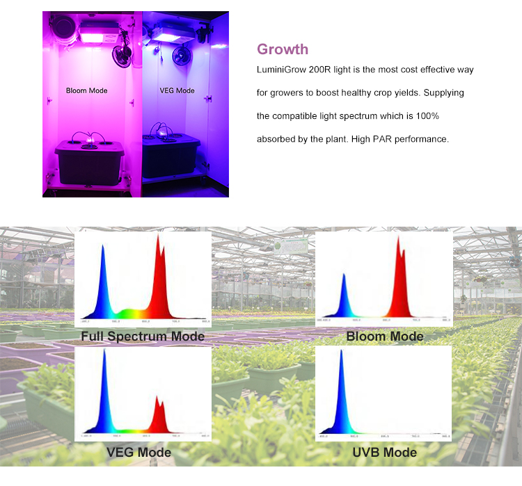 Hydroponic LuminiGrow 640 watt indoor plant growth VEG bloom full spectrum led grow lamp