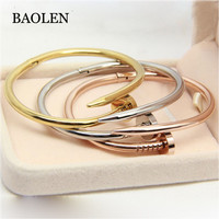 High Quality Gold Colour Women Cuff Nail Screw Bangle Stainless Steel Jewelry Brand Love Bracelet Bangle For Women And Man