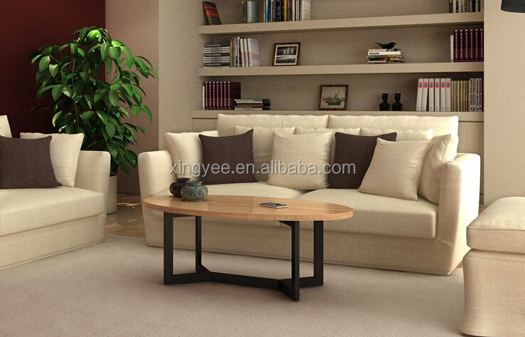 Modern Design Living Room Furniture Home Goods Mdf Coffee Tables Wood Top Oval Coffee Table
