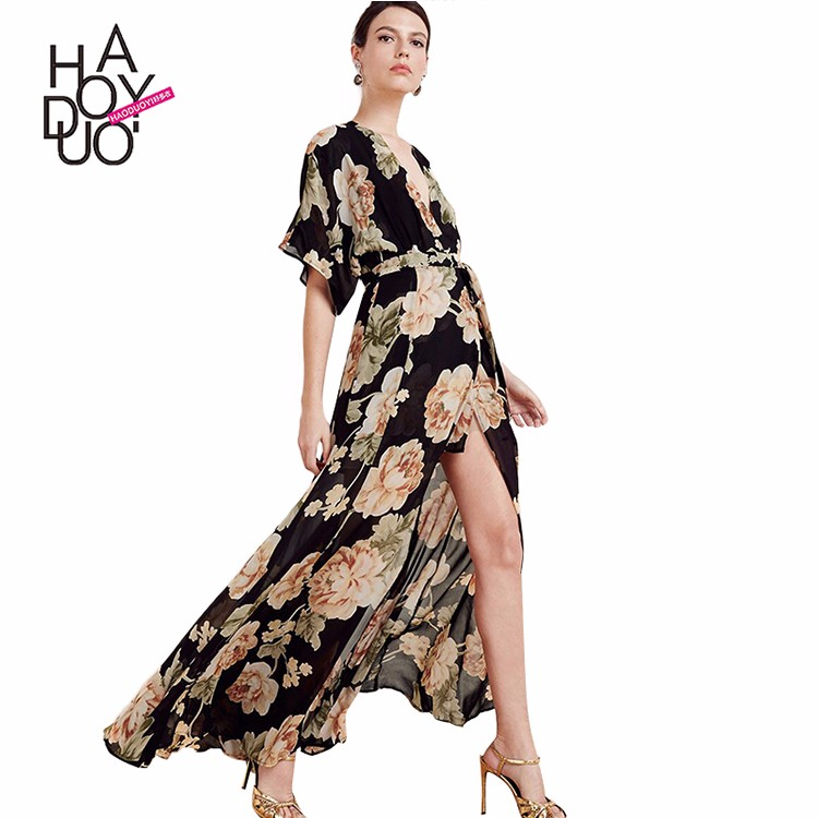 HAODUOYI Latest Backless Floral Print Women Long Chiffon Maxi Dresses