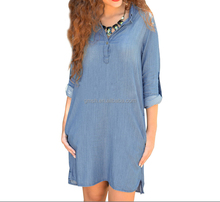 2016 Lastest design oem spring blue v-neck long sleeve denim wash double shirt ladies dresses