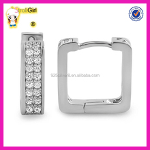 Hot sale silver plated white zircon square unique hoop earrings