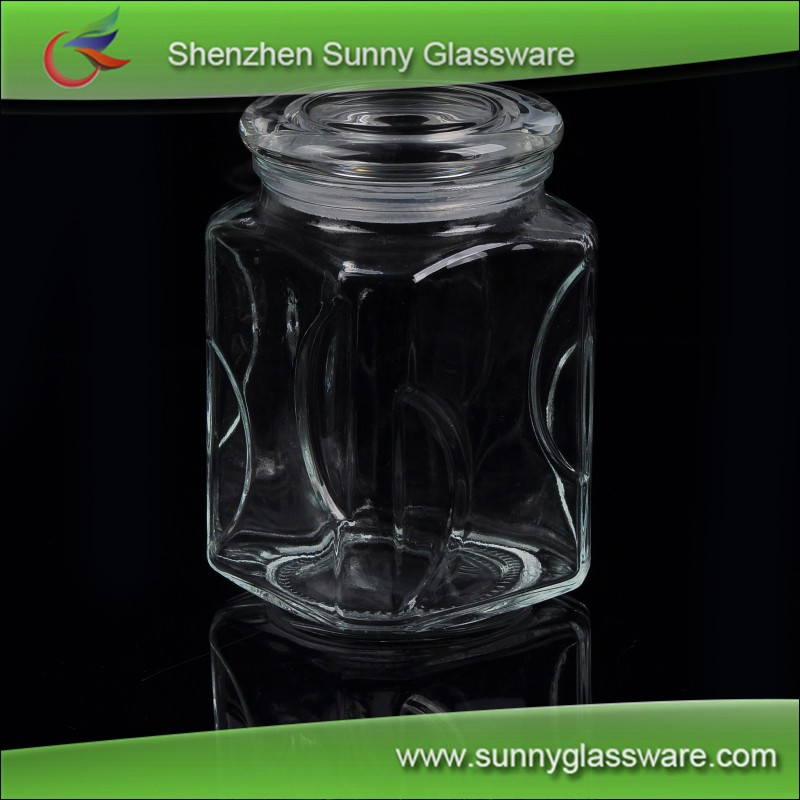 Food grade 1800ml high quality large clear glass food storage jars