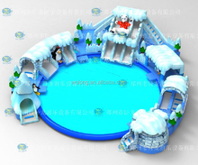 Aquatic inflatables water inflation game toy snow world with 16m pool 21x21x2.8m