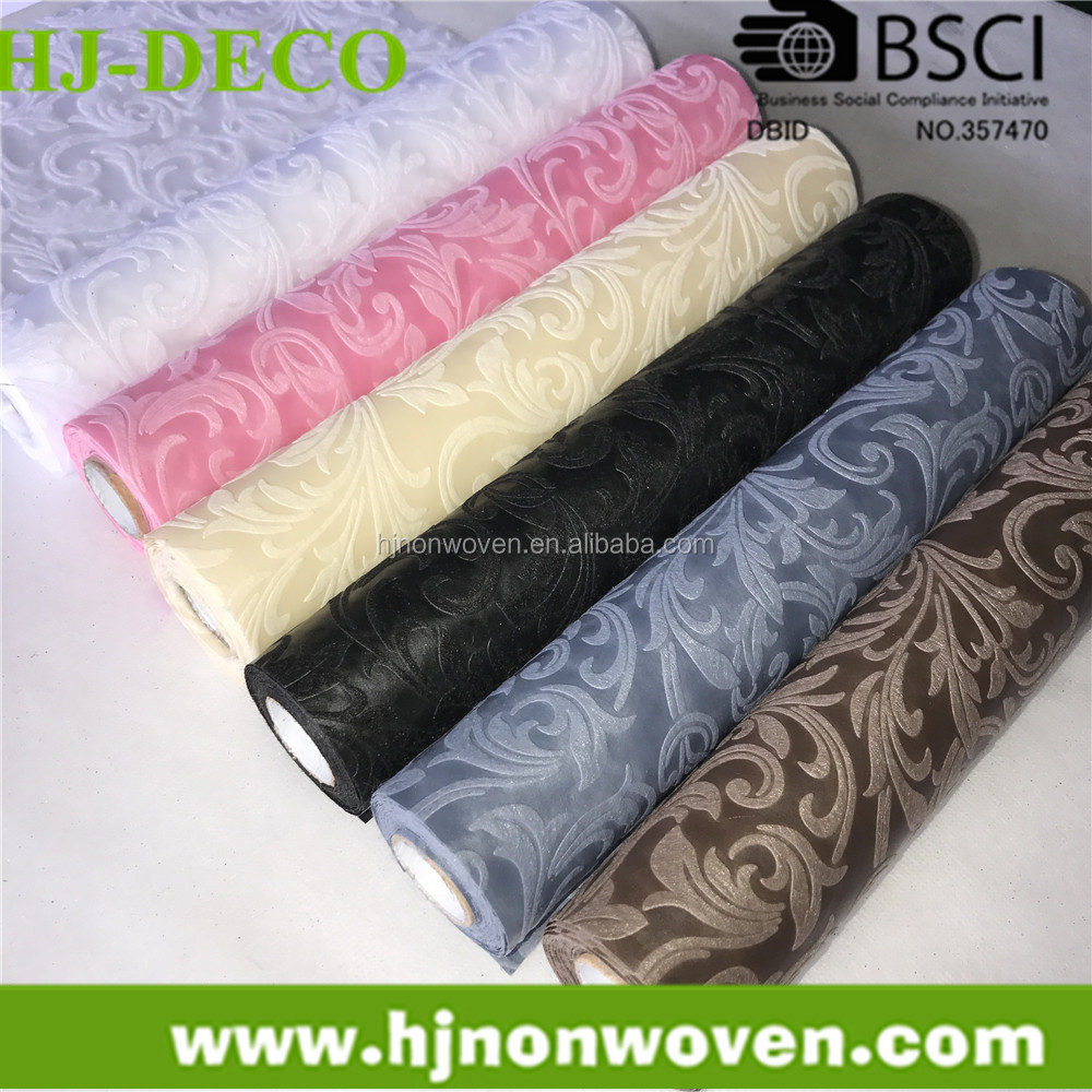 jacquard etoffe non woven for table runner and flower wrapping gift ribbon