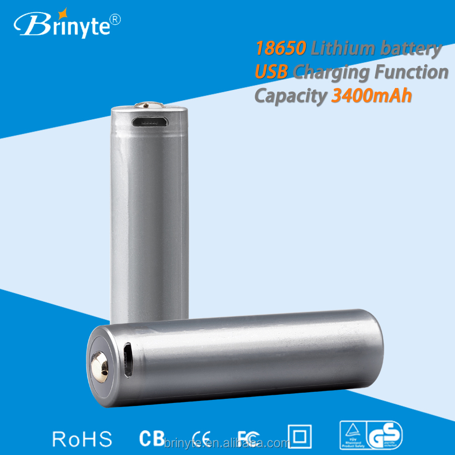 Brinyte USB direct Charging rechargeable Lithium 3400mAH 18650 Battery