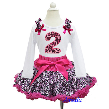 Hot Pink Leopard Pettiskirt with Leopard 2nd Birthday White Long Sleeves Tee 1-7Y