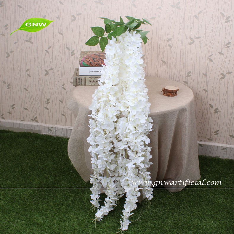 GNW FLW1503 5ft white artificial wisteria flower with hanging flowers wholesale table centerpieces for wedding decoration