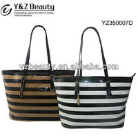 Latest Design Girls Bags Brand Name Handbags Stripe Purse Shopping Tote Bag