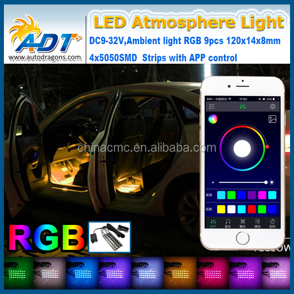 36x 5050SMD LED interior exterior strip Light Car footwell ambient light Car LED Inside Bulb