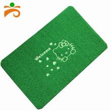 PP material artificial embroidered TPR backing welcome outdoor grass mat