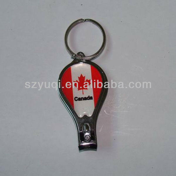Fashionable tennis racket key chain with sticker canada logo