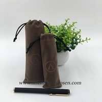 Cheap Brown Drawstring Velvet Pen Gift Bag