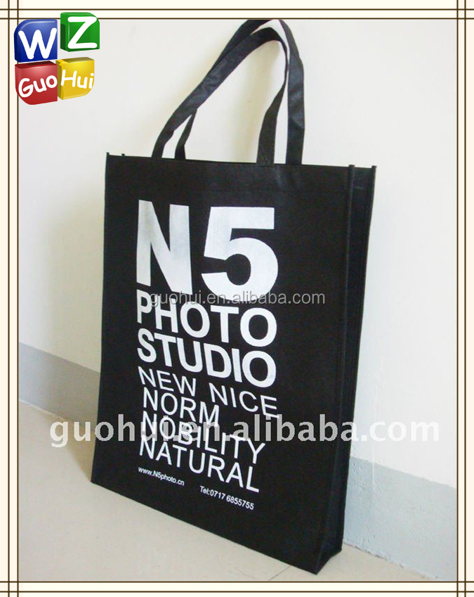 Recycled non-woven promotional bag, Black non woven fabric bag with white logo