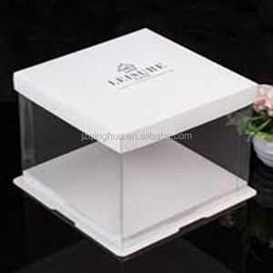 Factory Price Custom Logo Square Visible Clear Plastic Packaging Birthday Cake Box