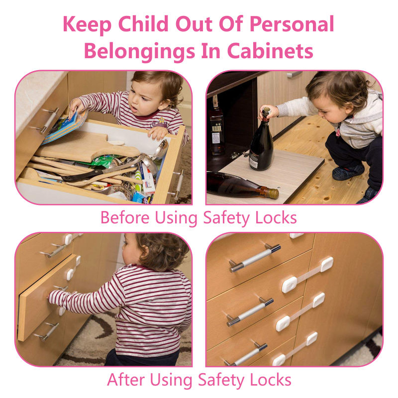 Promotional Product 9PCS/Pack Protective Safety Cabinet Lock Baby Drawer Locks