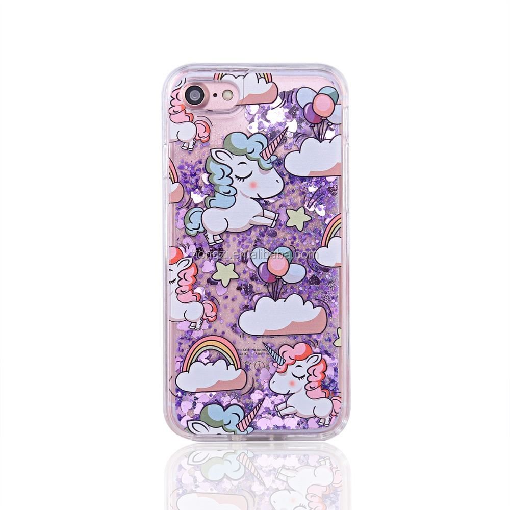 NEW unicorn animal cartoon Liquid Glitter Paillette Quicksand Hard Case Cover For iPhone 5 5G 5S 6 6 plus 7 7 plus