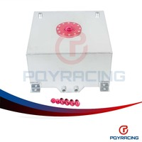 PQY STORE-10 GALLON/37.8L RACING ALUMINUM GAS FUEL CELL TANK WITH BILLET RED CAP AN10 FUEL SURGE TANK PQY-TK71