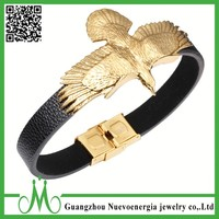 Golden ferocious eagle design men genuine leather bracelet show masculinity