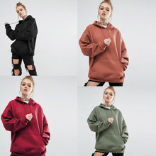 100% Cotton Hoodies Wholesale Pouch Pocket Plain Hoodies Women With Drawstring Hood