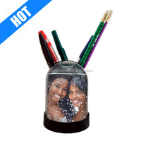 "Pencil Cup Snow Globe, Holds One 2"" X 2-7/8"" Photo"