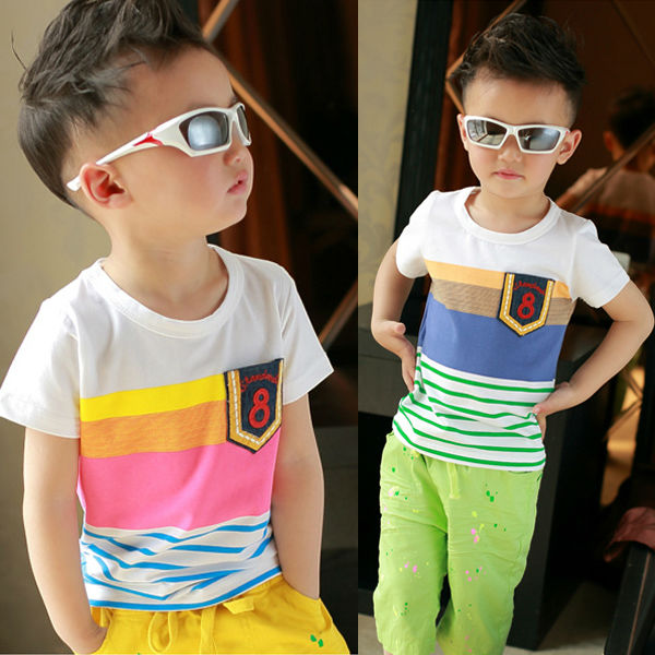 wholesale colourful stripe cotton summer 4-15years kids boy's t shirt tb1022