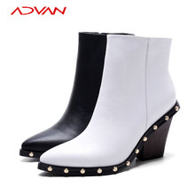 New Ladies Martin Boots White High Heel Pointed Toe Rivet Genuine Leather Women Boots
