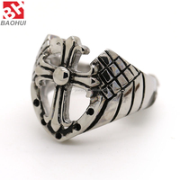 Men's 316L Stainless Steel Hollow Openwork Angel Wing Cross Shield Vintage Gothic Biker Silver Black Ring