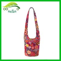 Japanese stylish girls cotton floral sling tote bag summer tote bag