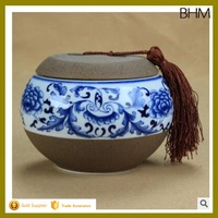 small novelty ceramic storage jars, candy/ food storage jar with lid, Beautiful blue and white porcelain jar