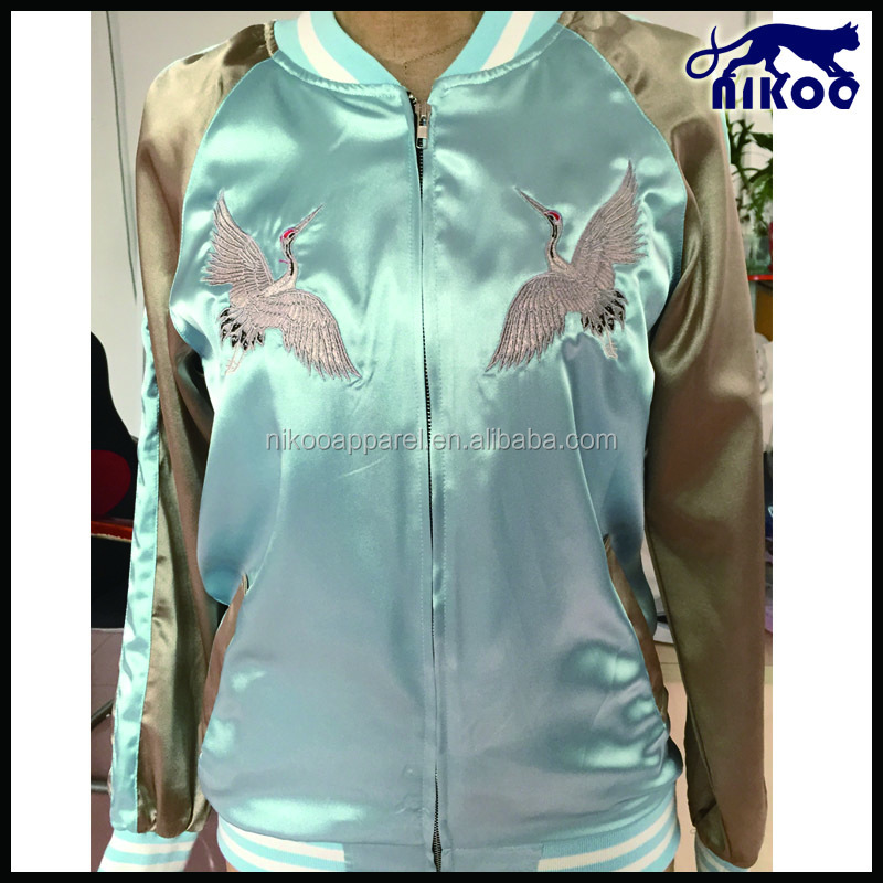 New Design Women Satin Bomber Jacket with Crane embroidered