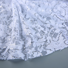 S957 china supplier spandex and nylon heavy beaded net lace fabric sequins
